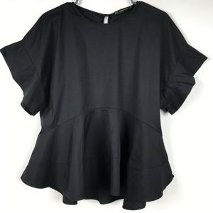 Zara Basic Swing Top XS Black Flare Rhinestone